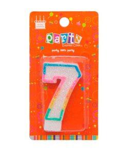 Vela glitter número 7