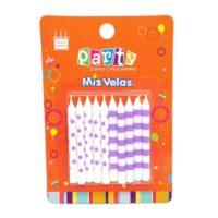 Velas con puntos y rayas lilas