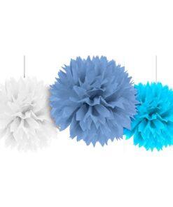 Pompones de papel Blanco Azul Celeste