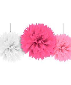 Pompones de papel Blanco Fucsia Rosado