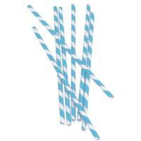 Bombillas de papel con rayas Celestes