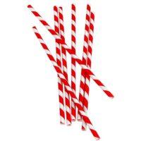 Bombillas de papel con rayas Rojas