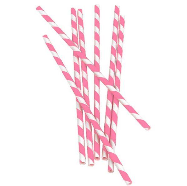 Bombillas de papel con rayas Rosadas