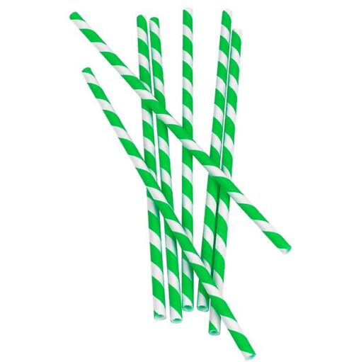 Bombillas de papel con rayas Verdes