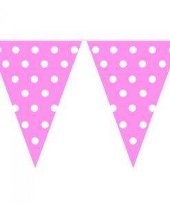 Banderines Rosados con puntos blancos