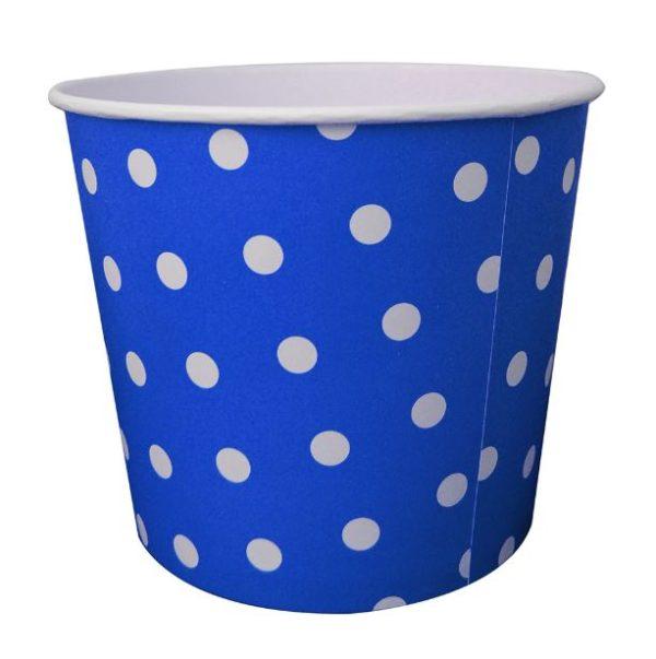 Pote azul con puntos blancos
