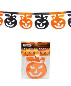 Guirnalda de calabazas naranjas y negras para Halloween
