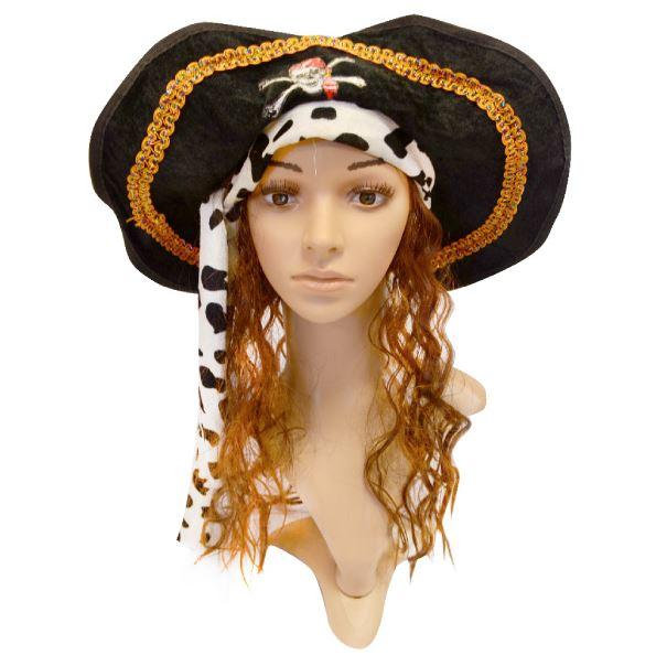 Sombrero de pirata con pelo