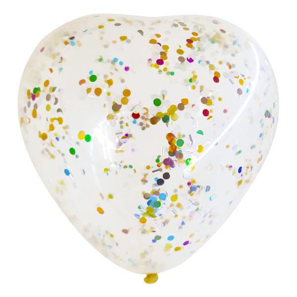 Globos cristal gigante con forma de corazón y confetti redondo.
