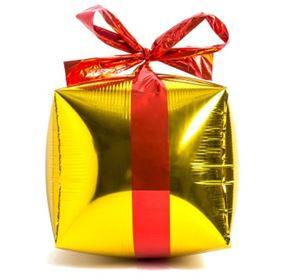Globo figura paquete de regalo color dorado metalizado