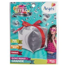 Globo figura paquete de regalo color plateado metalizado