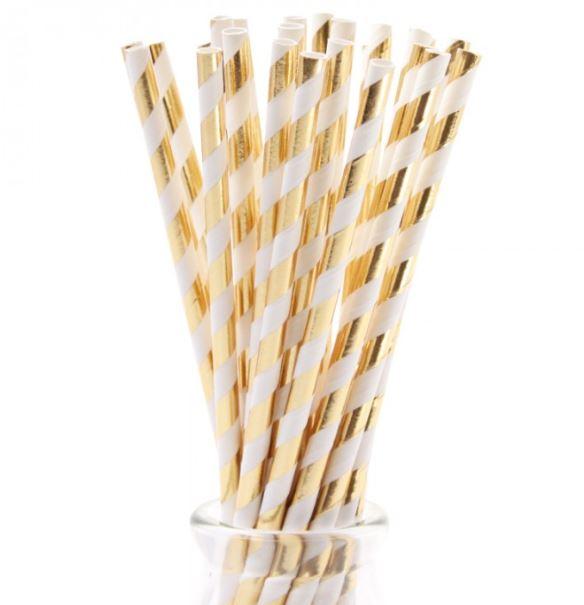 Bombillas de papel con rayas doradas metalizadas