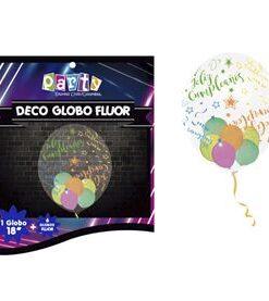 Globo flúor con frase feliz cumpleaños