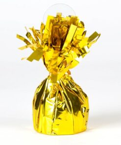 Peso para globo dorado metalizado con flecos
