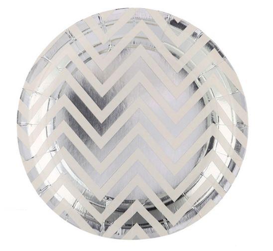 Platos Plateados metalizados diseño zigzag