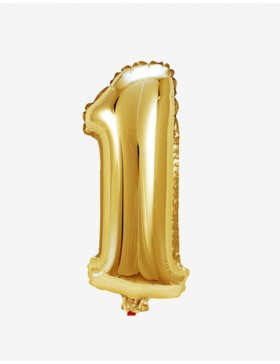 Globo número 1 dorado 81 cms