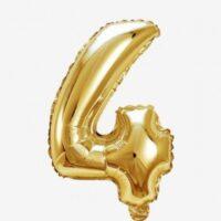Globo número 4 dorado 81 cms