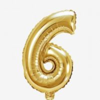 Globo número 6 dorado 81 cms