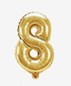 Globo número 8 dorado 81 cms