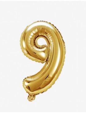 Globo número 9 dorado 81 cms